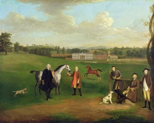 Leak Okeover, Rev. John Allen and Captain Chester at Okeover Hall, Staffordshire, c. 1785