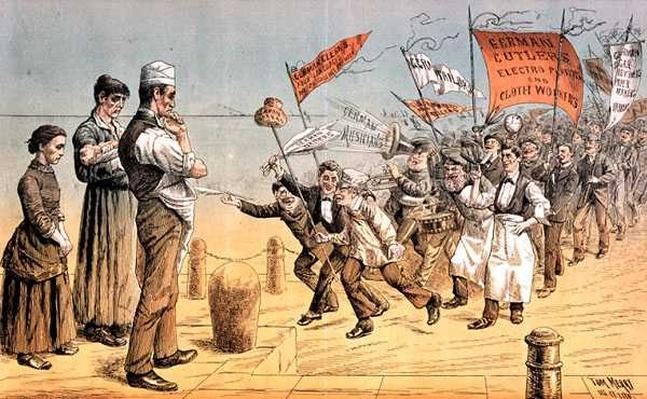 The German Invasion, from 'St. Stephen's Review Presentation Cartoon', 2 October 1886