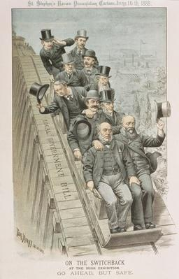 On the Switchback, At the Irish Exhibition, Go Ahead, but Safe, from 'St. Stephen's Review Presentation Cartoon', 16 June 1888