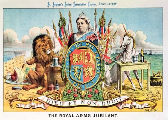 The Royal Arms Jubilant, from 'St. Stephen's Review Presentation Cartoon', 25 June 1887