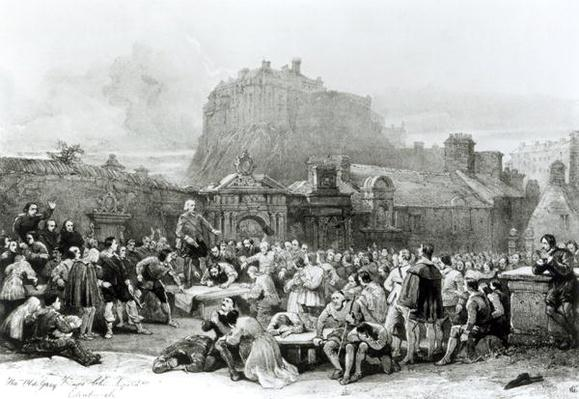 A Crowd Queues to Sign the National Covenant in front of Grey Friar's Churchyard, Edinburgh in 1638