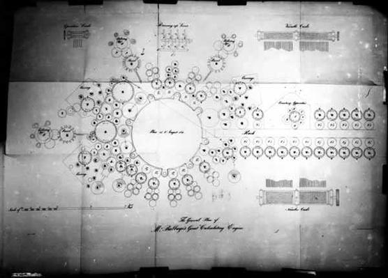 The General Plan of Mr Babbage's Great Calculating Engine, engraved by Bolton, printed by Lemercier Bernard & Co