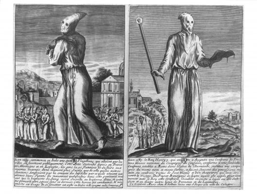 A Flagellant Master Leads his Band of Followers through a City, from 'The Chronicles of Chivalry', 1583