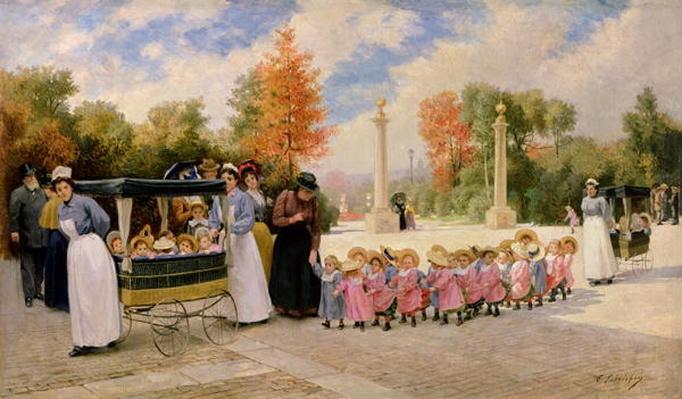 Promenade des Enfants by Lobrichon, Timoleon Marie (1831-1914)