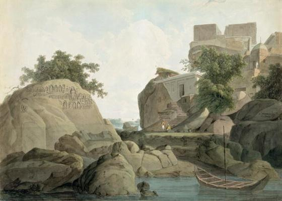 Fakir's Rock at Sultanganj, on the River Ganges, India, c.1790