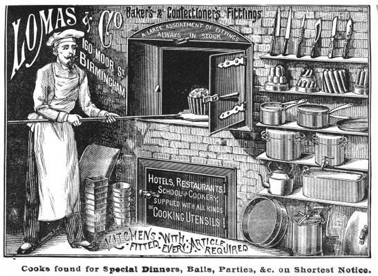 Advertisement for Lomas and Co., suppliers of kitchen equipment
