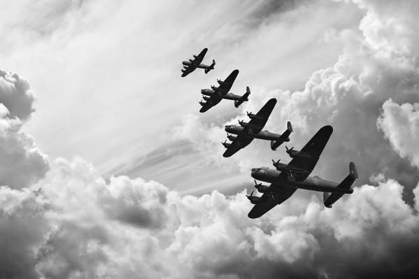 Black and white retro image Battle of Britain WW2 airplanes | World War II