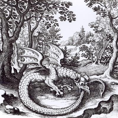 A Dragon in the Forest, from 'Musaeum Hermeticum Reformatum' by Basil Valentine, 1678