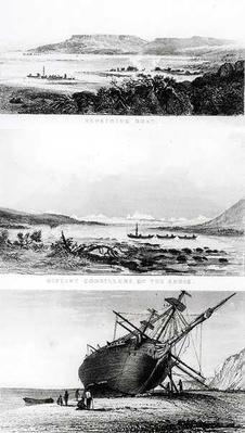 Scenes of the 'Beagle' being repaired, on the distant cordillera of the Andes, and laid ashore on the Santa Cruz River, engraved by Thomas Landseer