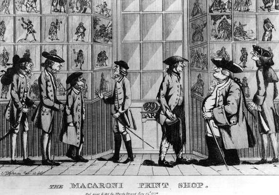 The Macaroni Print Shop, pub. by N. Darley, 1772