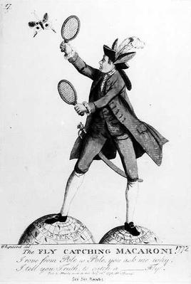 The Fly Catching Macaroni, engraved by Whipcord, pub. by N. Darly, 12 July 1772