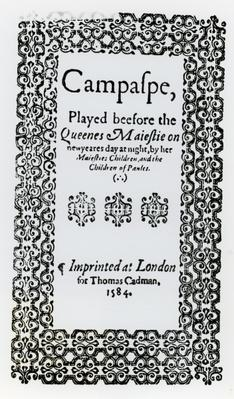 Frontispiece to 'Campaspe' by John Lyly
