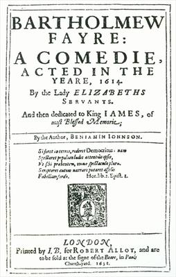 Frontispiece to 'Bartholomew Fayre: A Comedie' by Benjamin Jonson