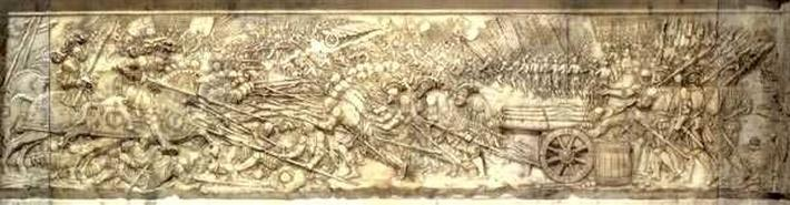 The Battle of Marignano in 1515, from the tomb of Francois I and Claude of France, Duchess of Brittany, 1548-52