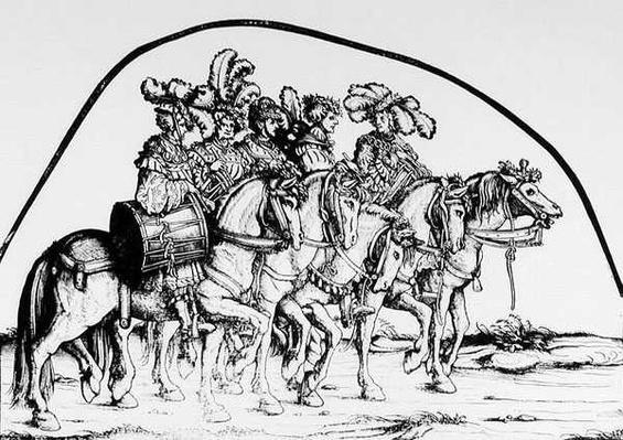 A troupe of drummers, from Maximilian's Triumphal Procession, c.1516-18