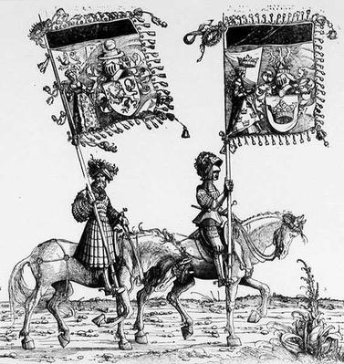 Two Mounted Knights, from Maximilian's Triumphal Procession, c.1516-18
