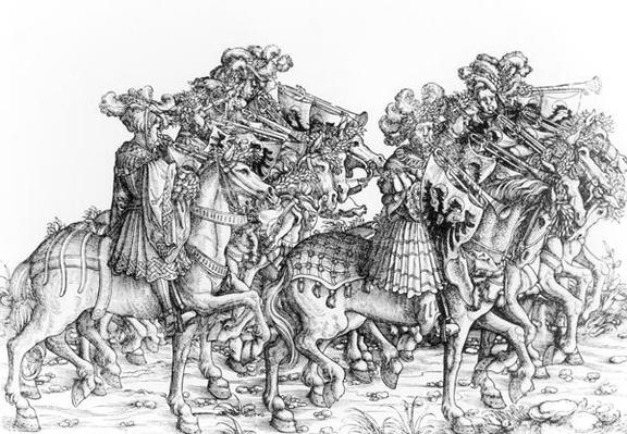 A group of mounted trumpeters, from 'Maximilian's Triumphal Procession', c.1516-18