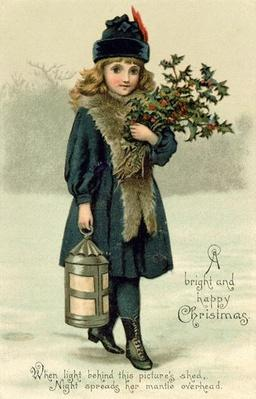Young girl with Holly and Lantern, postcard, early 20th century