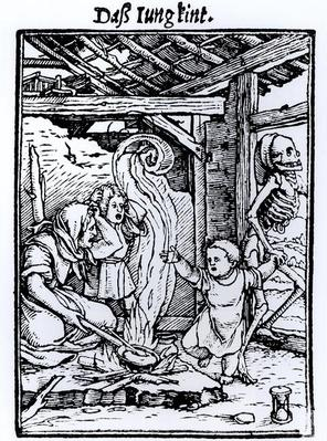 Death Taking a Child, from the 'Dance of Death' series, engraved by Hans Lutzelburger, c.1526-8