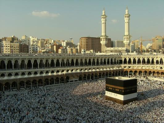 Muslim pilgrims circumambulate the Kaabah in Mecca | World Religions: Islam