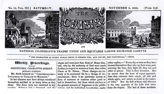 Front page of the 'National Co-operative Trades' Union and Equitable Labour Exchange Gazette', 9 November 1833