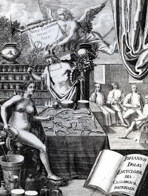 Frontispiece to an 'Encyclopaedia of Surgical Thought' by John Dolaeus