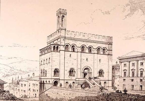 Palazzo del Comune, Gubbio, Italy, from 'Examples of the Municipal, Commercial, and Street Architecture of France and Italy from the 12th to the 15th Century' publ. by W.Mackenzie, 1841