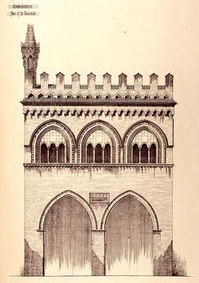 Palace of the Jurisconsults, Cremona, Italy, built in 1292, from 'Examples of the Municipal, Commercial, and Street Architecture of France and Italy from the 12th to the 15th Century', 1841