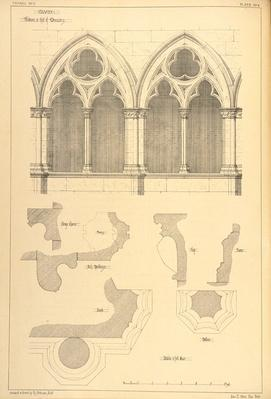 Windows in the Hall of the Monastery, Cluny, from 'Examples of the Municipal, Commercial, and Street Architecture of France and Italy from the 12th to the 15th Century', 1841