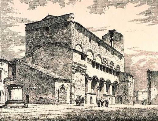 Palazzo Pubblico, Orvieto, Italy, from 'Examples of the Municipal, Commercial, and Street Architecture of France and Italy from the 12th to the 15th Century' publ. by W.Mackenzie, 1841