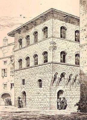14th Century House, Florence, Italy, from 'Examples of the Municipal, Commercial, and Street Architecture of Italy and France from the 12th to the 15th Century', publ. by W.Mackenzie, 1841