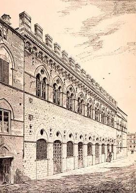 Palazzo Grotanelli, from 'Examples of the Municipal, Commercial, and Street Architecture of France and Italy from the 12th to the 15th Century', publ. by W.Mackenzie, 1841
