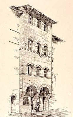 View of a Brick House, Montepulciano, Italy, from 'Examples of the Municipal, Commercial, and Street Architecture of France and Italy from the 12th to the 15th Century', publ. by W.Mackenzie, 1841