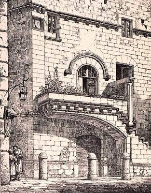 House of Santa Rosa, Viterbo, Italy, from 'Examples of the Municipal, Commercial, and Street Architecture of France and Italy from the 12th to the 15th Century', publ. by W.Mackenzie, 1841