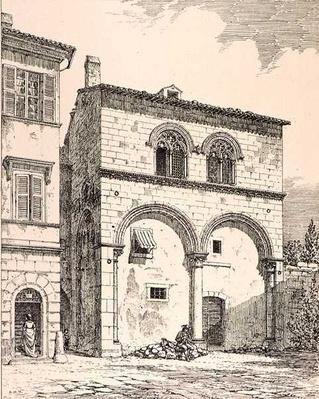 House in the Piazza del Duomo, Viterbo, Italy, from 'Examples of the Municipal, Commercial, and Street Architecture of France and Italy from the 12th to the 15th Century', publ. by W.Mackenzie, 1841