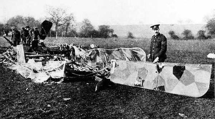 Wreckage of Raider Brought Down in Essex, 28 January 1918