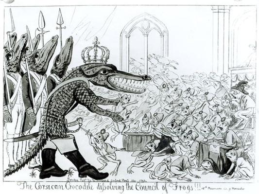 The Corsican Crocodile dissolving the Council of Frogs, 9th November 1799