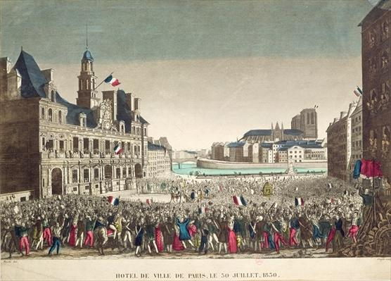 The Arrival of the Duke of Orleans at the Hotel de Ville, 31st July 1830, engraved by Cropin