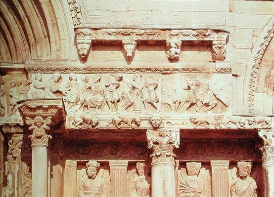 Detail from the central portal of the west facade, depicting scenes from the Passion of Christ, c.1180