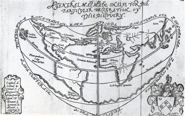A General Map, from 'A Discourse of a Discovery for a New Passage to Cataia' written by Humphrey Gilbert