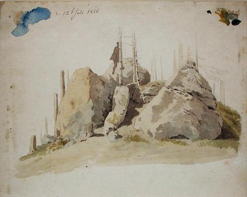 Rock and Tree: unfinished study, 12th July 1810