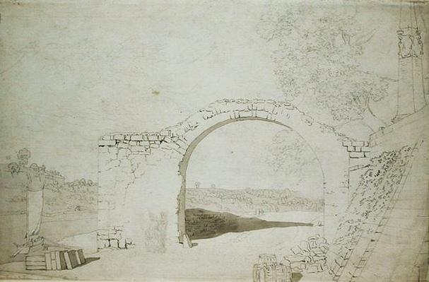 River Landscape with an Arch