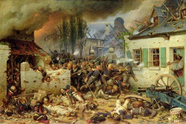 Attacking the Prussians in Plancenoit in the Battle of Waterloo, 1863