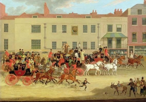The North Country Mails at the Peacock, Islington, 1821