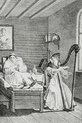 'While she Sang, Ambrosio Listened with Delight', engraved by L'Epine
