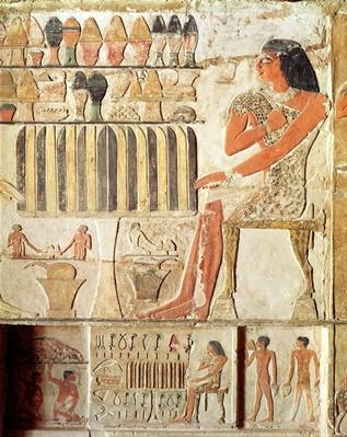 The deceased in front of a table of food, Egyptian, Old Kingdom