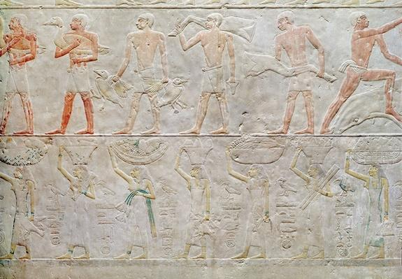 Relief depicting people carrying offerings of food, from the Mastaba of Akhethotep, Old Kingdom, c.2400 BC
