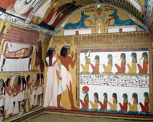 Sennedjem and his wife facing a naos containing twelve divinities, from the west wall of the Tomb of Sennedjem, The Workers' Village, New Kingdom