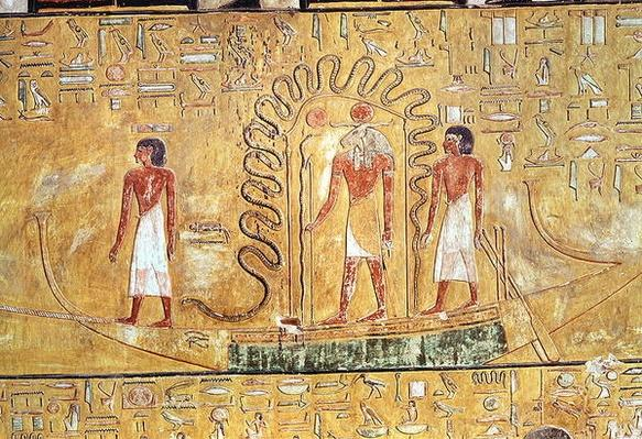 The sun god Ra in his solar barque, protected by the coils of a serpent, from the Tomb of Seti I