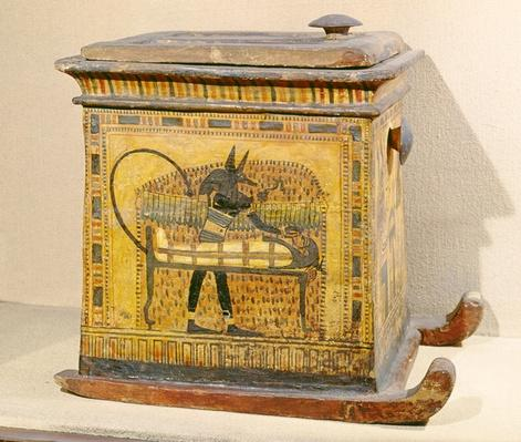 Anubis Mummifying the Deceased, from a casket dedicated to Nefertari, New Kingdom